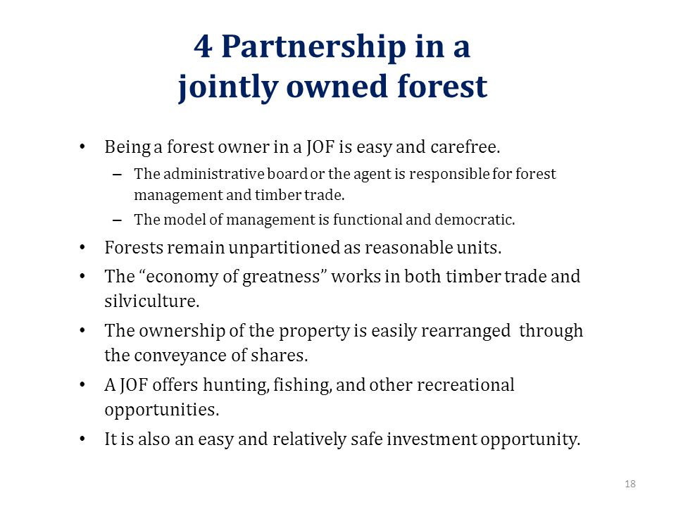 4 Partnership in a jointly owned forest Being a forest owner in a JOF is easy and carefree.
