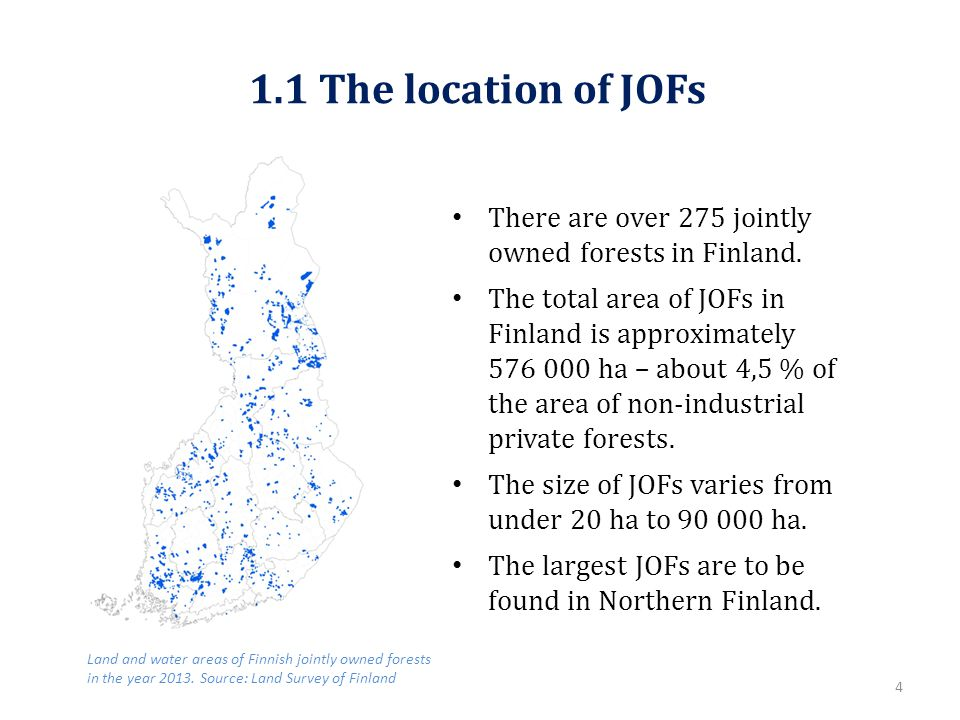 1.1 The location of JOFs There are over 275 jointly owned forests in Finland.