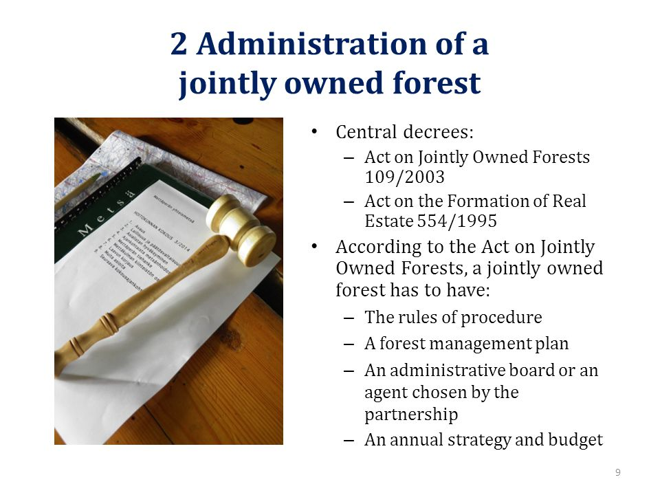 2 Administration of a jointly owned forest Central decrees: – Act on Jointly Owned Forests 109/2003 – Act on the Formation of Real Estate 554/1995 According to the Act on Jointly Owned Forests, a jointly owned forest has to have: – The rules of procedure – A forest management plan – An administrative board or an agent chosen by the partnership – An annual strategy and budget 9