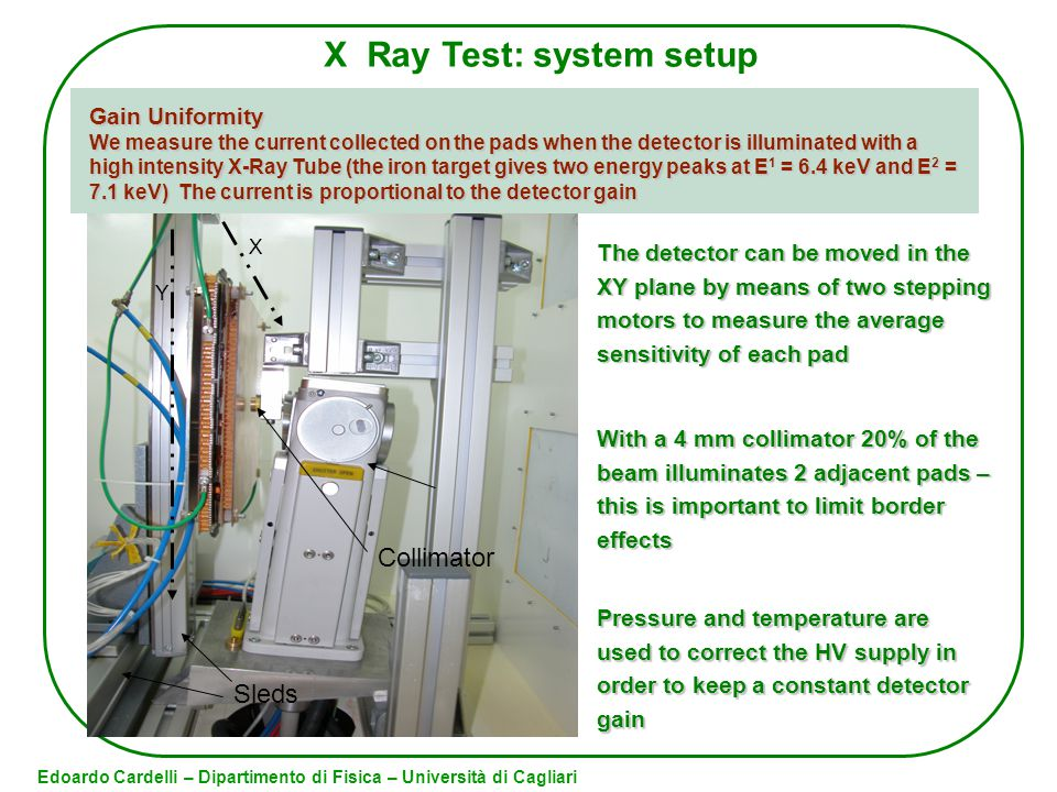 Pressure and temperature are used to correct the HV supply in order to keep a constant detector gain X Ray Test: system setup Edoardo Cardelli – Dipartimento di Fisica – Università di Cagliari With a 4 mm collimator 20% of the beam illuminates 2 adjacent pads – this is important to limit border effects The detector can be moved in the XY plane by means of two stepping motors to measure the average sensitivity of each pad X Ray tube Y X Sleds Collimator Gain Uniformity We measure the current collected on the pads when the detector is illuminated with a high intensity X-Ray Tube (the iron target gives two energy peaks at E = 6.4 keV and E 2 = 7.1 keV) The current is proportional to the detector gain We measure the current collected on the pads when the detector is illuminated with a high intensity X-Ray Tube (the iron target gives two energy peaks at E 1 = 6.4 keV and E 2 = 7.1 keV) The current is proportional to the detector gain