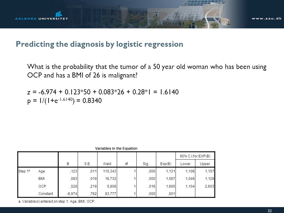 Predicting the diagnosis by logistic regression What is the probability that the tumor of a 50 year old woman who has been using OCP and has a BMI of 26 is malignant.