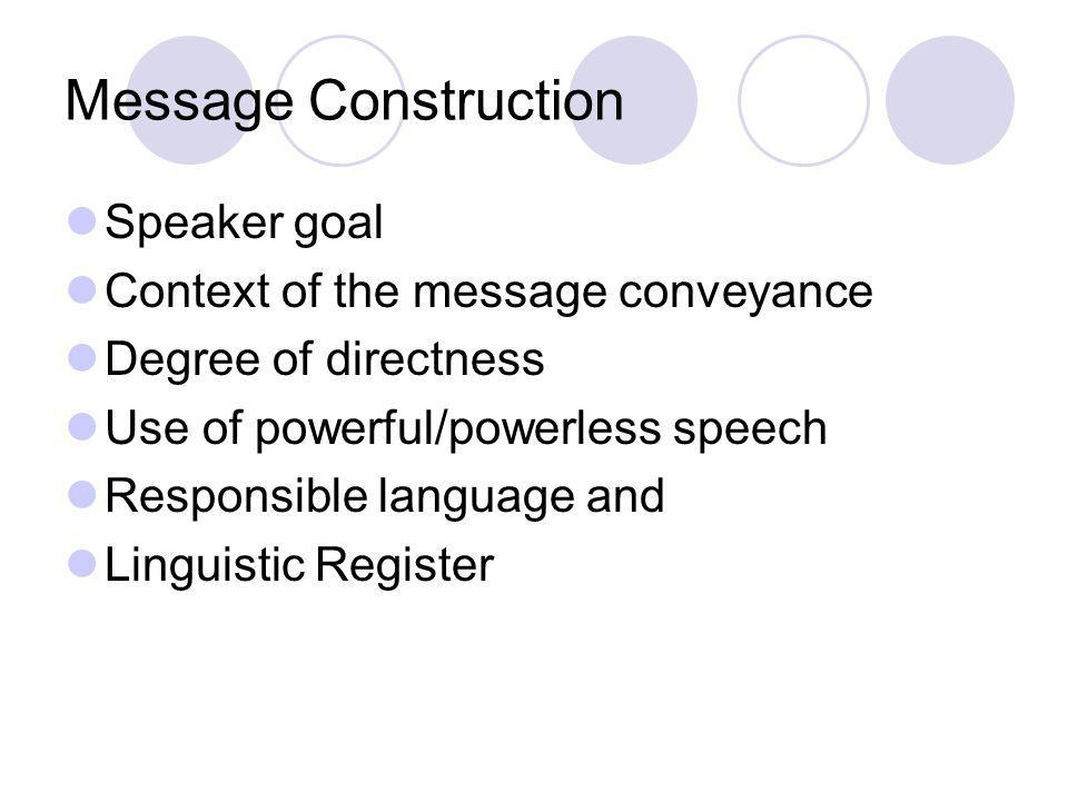 Message Construction Speaker goal Context of the message conveyance Degree of directness Use of powerful/powerless speech Responsible language and Lin