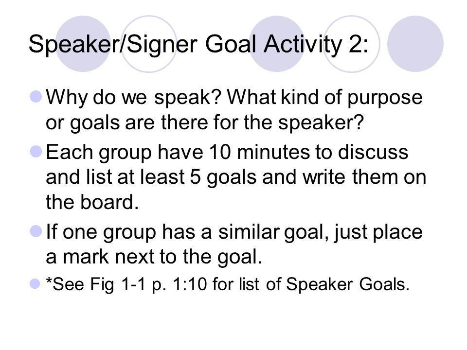 Speaker/Signer Goal Activity 2: Why do we speak? What kind of purpose or goals are there for the speaker? Each group have 10 minutes to discuss and li