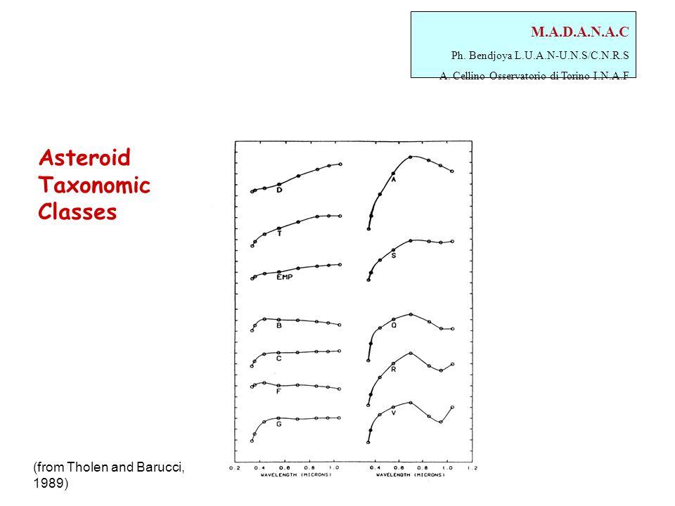 M.A.D.A.N.A.C Ph. Bendjoya L.U.A.N-U.N.S/C.N.R.S A. Cellino Osservatorio di Torino I.N.A.F Asteroid Taxonomic Classes (from Tholen and Barucci, 1989)