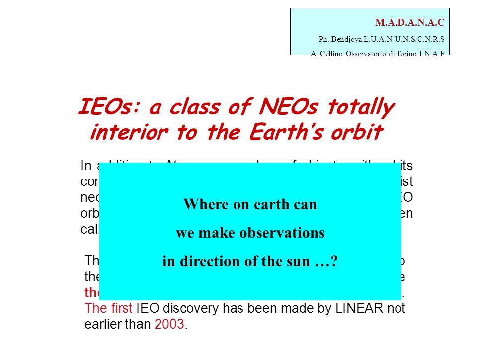 M.A.D.A.N.A.C Ph. Bendjoya L.U.A.N-U.N.S/C.N.R.S A. Cellino Osservatorio di Torino I.N.A.F IEOs: a class of NEOs totally interior to the Earth's orbit