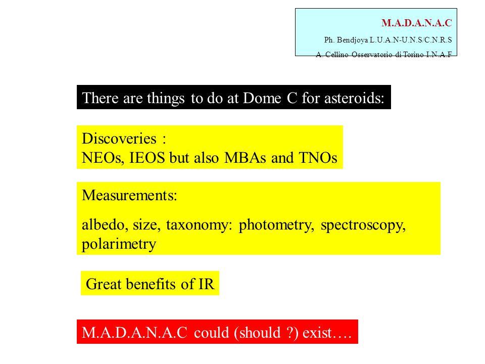 M.A.D.A.N.A.C Ph. Bendjoya L.U.A.N-U.N.S/C.N.R.S A. Cellino Osservatorio di Torino I.N.A.F Measurements: albedo, size, taxonomy: photometry, spectrosc