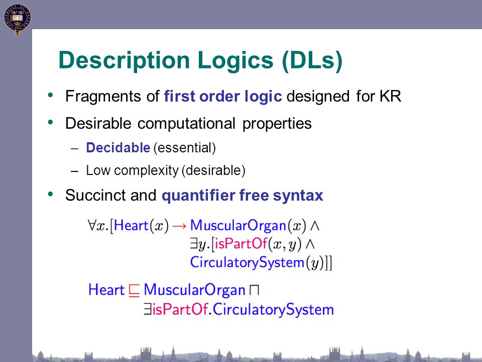 Fragments of first order logic designed for KR Desirable computational properties –Decidable (essential) –Low complexity (desirable) Succinct and quantifier free syntax Description Logics (DLs)