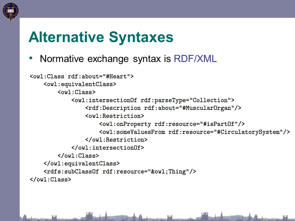 Alternative Syntaxes Normative exchange syntax is RDF/XML