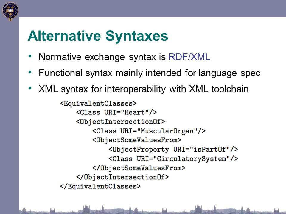 Alternative Syntaxes Normative exchange syntax is RDF/XML Functional syntax mainly intended for language spec XML syntax for interoperability with XML toolchain