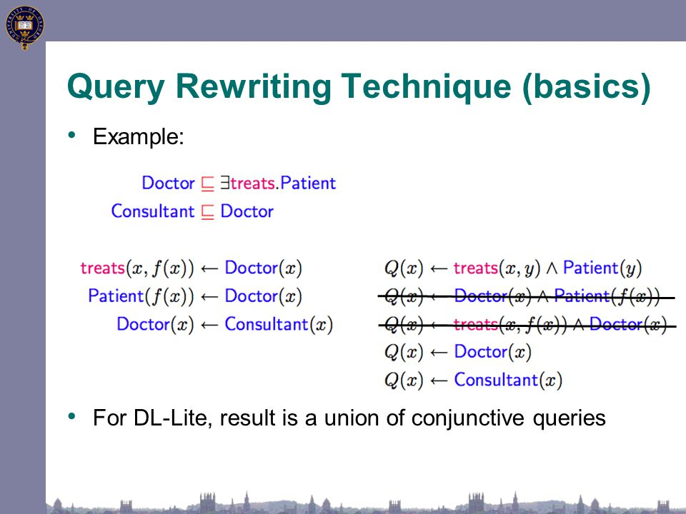 Query Rewriting Technique (basics) Example: For DL-Lite, result is a union of conjunctive queries