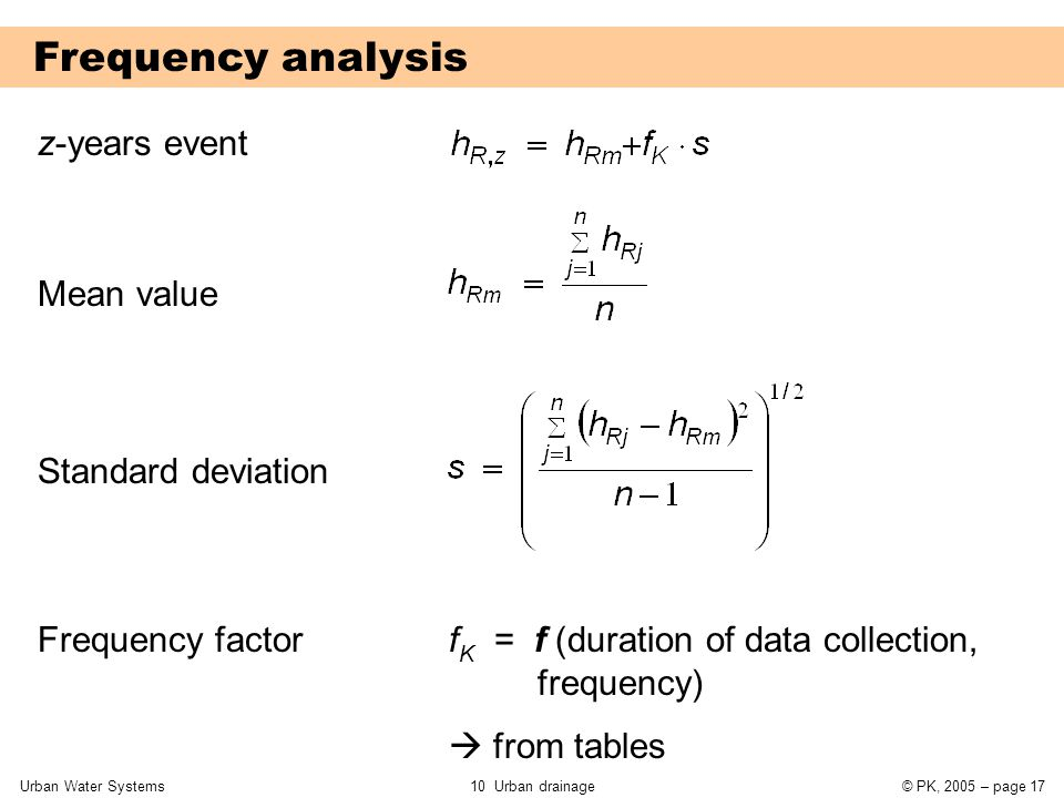Urban Water Systems10 Urban drainage© PK, 2005 – page 17 Frequency analysis z-years event Mean value Standard deviation Frequency factor f K = f (dura