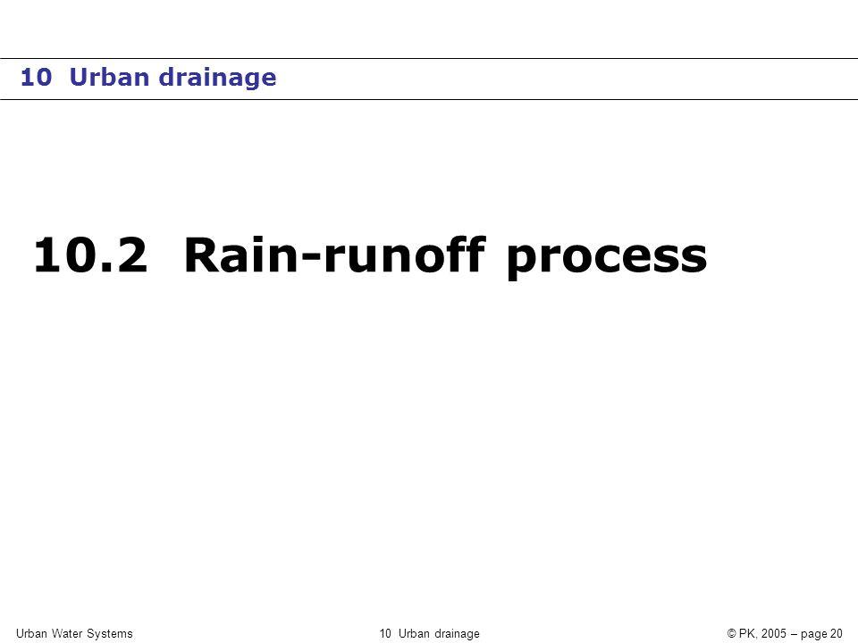 Urban Water Systems10 Urban drainage© PK, 2005 – page 20 10.2 Rain-runoff process 10 Urban drainage