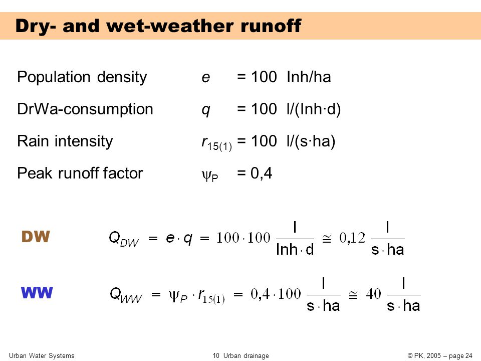 Urban Water Systems10 Urban drainage© PK, 2005 – page 24 Dry- and wet-weather runoff Population densitye = 100 Inh/ha DrWa-consumption Rain intensity Peak runoff factor q = 100 l/(Inh·d) r 15(1) = 100 l/(s·ha)  P = 0,4 DW WW