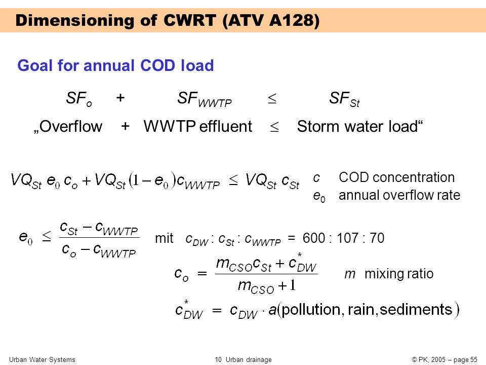 """Urban Water Systems10 Urban drainage© PK, 2005 – page 55 Dimensioning of CWRT (ATV A128) Goal for annual COD load """"Overflow + WWTP effluent  Storm wa"""