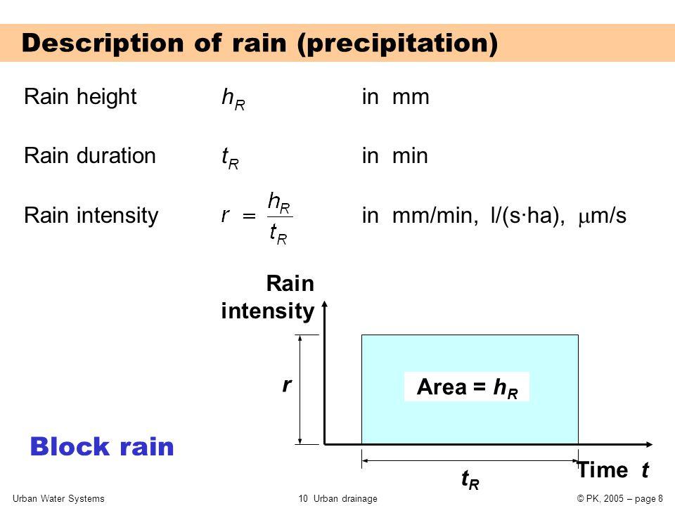 Urban Water Systems10 Urban drainage© PK, 2005 – page 8 Description of rain (precipitation) Rain height h R in mm Rain duration t R in min Rain intensity in mm/min, l/(s·ha),  m/s Rain intensity Time t tRtR r Area = h R Block rain