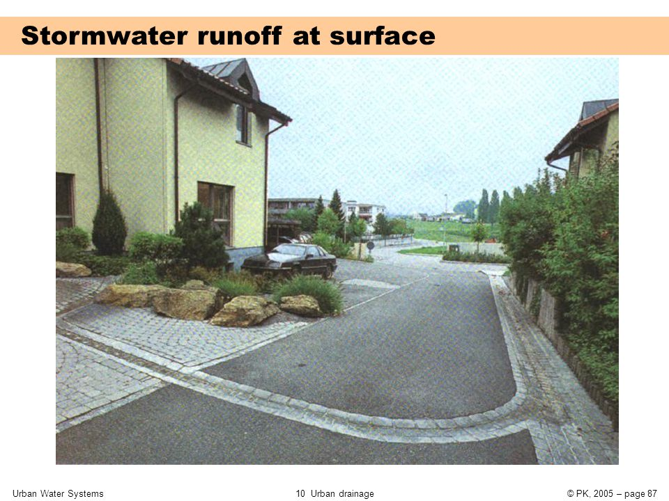 Urban Water Systems10 Urban drainage© PK, 2005 – page 87 Stormwater runoff at surface