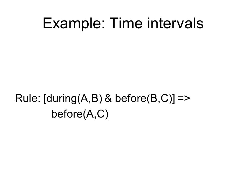 Example: Time intervals Rule: [during(A,B) & before(B,C)] => before(A,C)