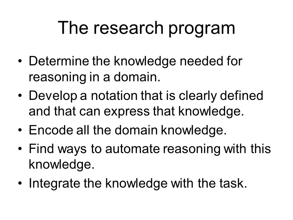 The research program Determine the knowledge needed for reasoning in a domain.