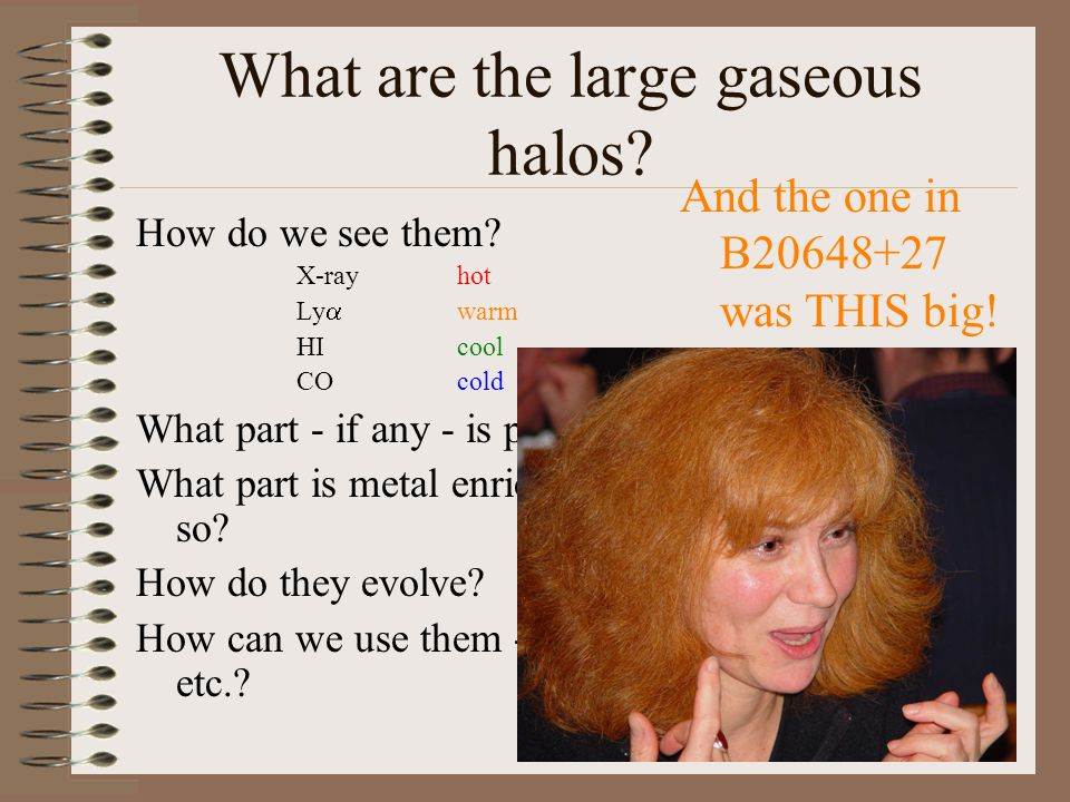 What are the large gaseous halos.How do we see them.