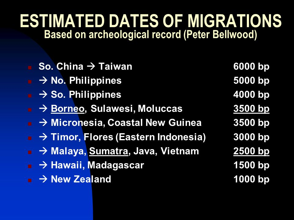 ESTIMATED DATES OF MIGRATIONS Based on archeological record (Peter Bellwood) So.