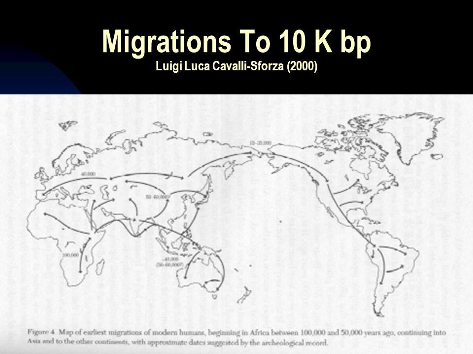 Migrations To 10 K bp Luigi Luca Cavalli-Sforza (2000)