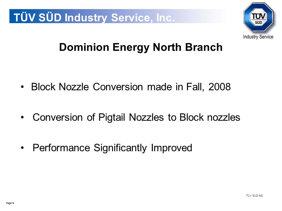 12Page TÜV SÜD AG TÜV SÜD Industry Service, Inc. Dominion Energy North Branch Block Nozzle Conversion made in Fall, 2008 Conversion of Pigtail Nozzles