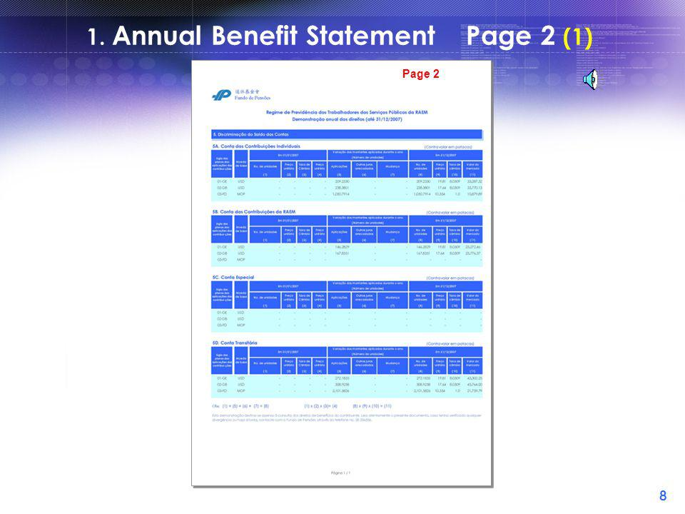 7 1. Annual Benefit Statement Page 1 (5) = +