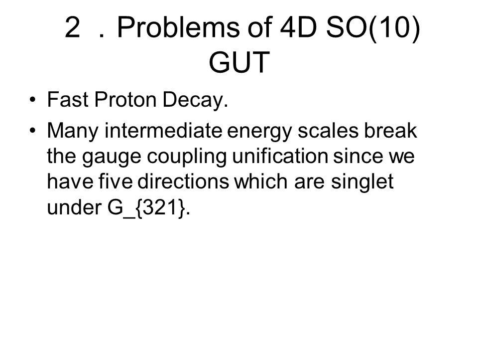 2. Problems of 4D SO(10) GUT Fast Proton Decay.