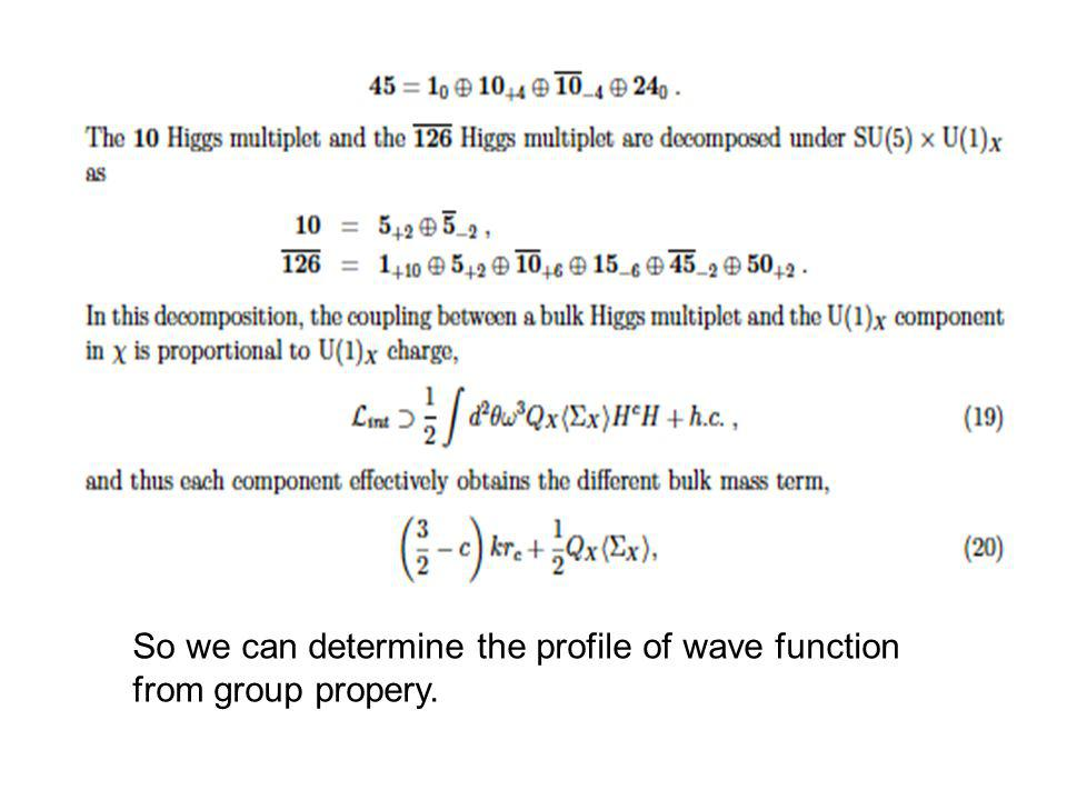 So we can determine the profile of wave function from group propery.