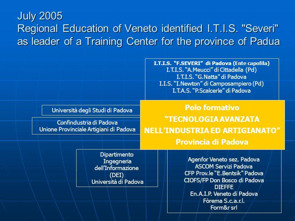 July 2005 Regional Education of Veneto identified I.T.I.S.