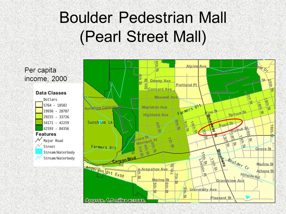 Boulder Pedestrian Mall (Pearl Street Mall) Per capita income, 2000