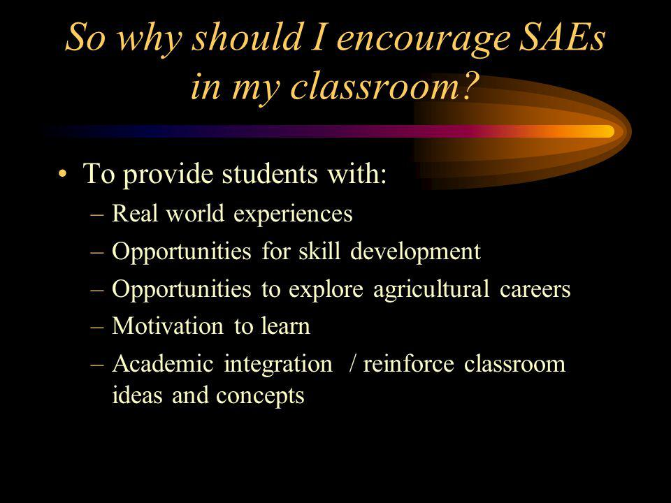 So why should I encourage SAEs in my classroom.