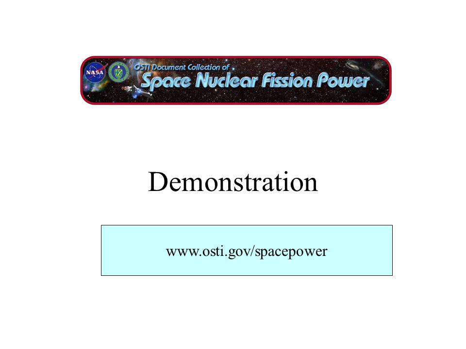 Demonstration www.osti.gov/spacepower