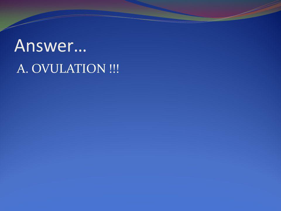 Answer… A. OVULATION !!!