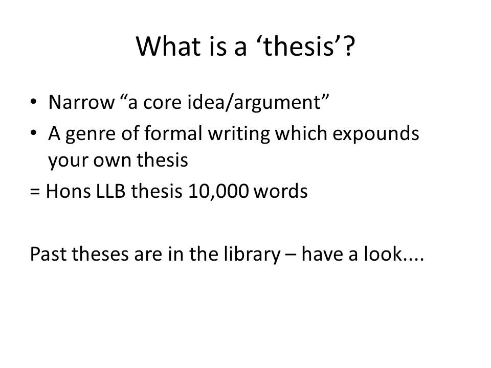 What is a 'thesis'.