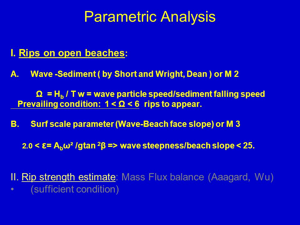 Parametric Analysis I.