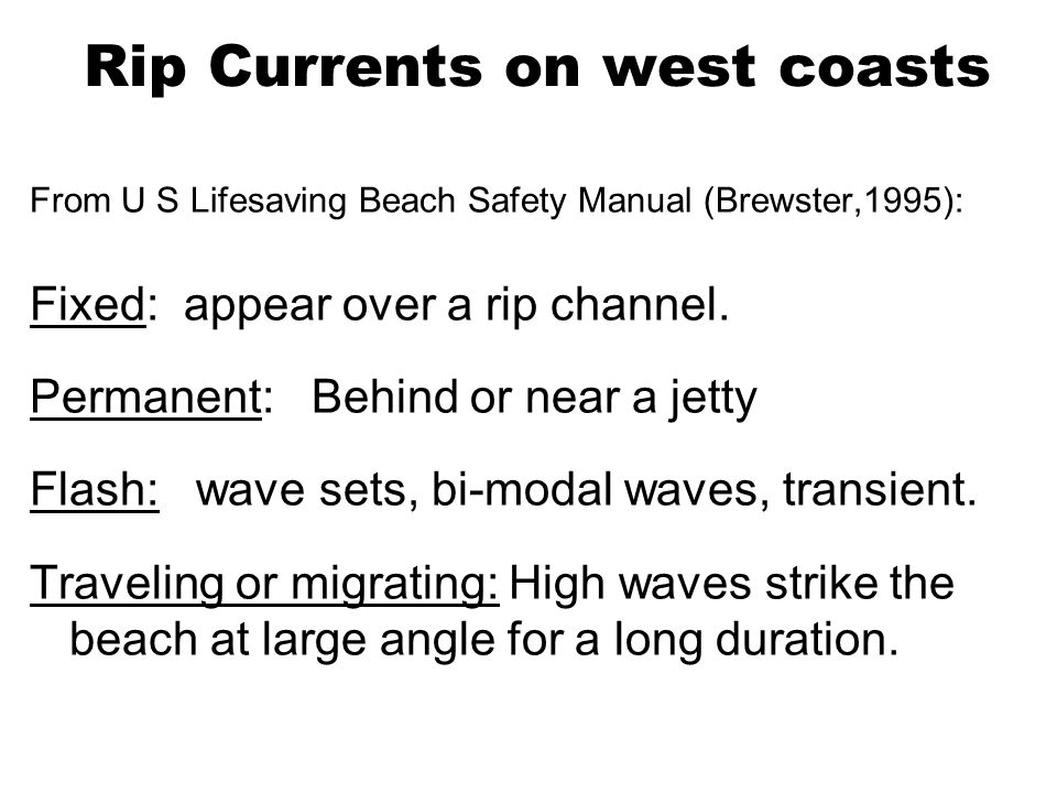 Diagnostic Approach to Rip Current Prediction Hypothesis: Surf heights, period, tide level, Beach sand, Surf zone width, winds etc.