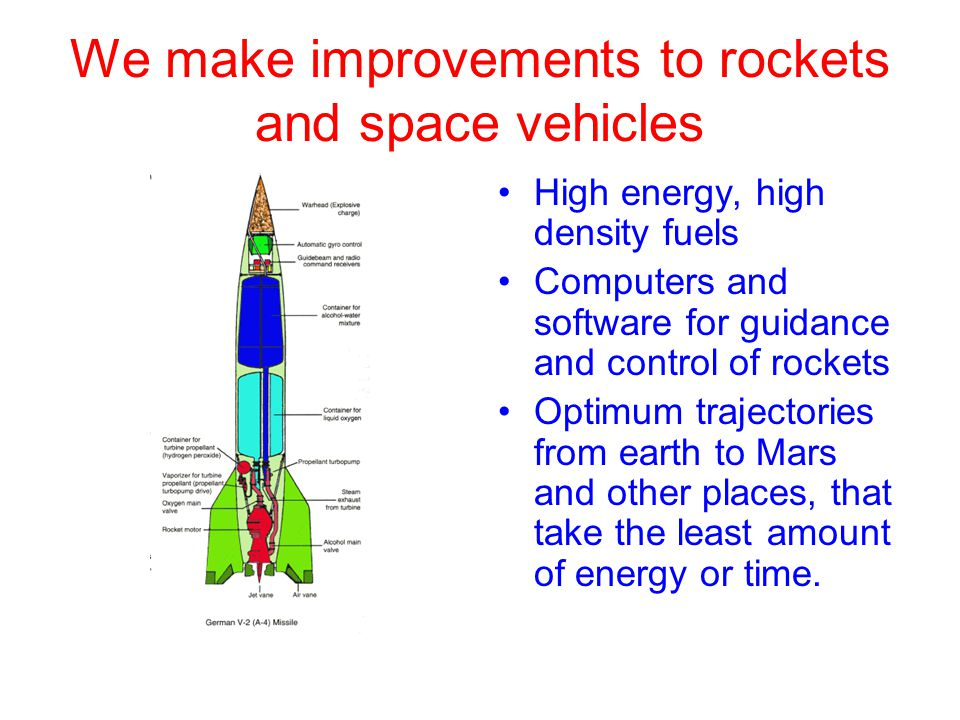 We make improvements to rockets and space vehicles High energy, high density fuels Computers and software for guidance and control of rockets Optimum trajectories from earth to Mars and other places, that take the least amount of energy or time.