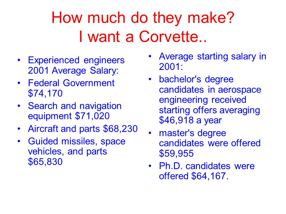 How much do they make? I want a Corvette.. Experienced engineers 2001 Average Salary: Federal Government $74,170 Search and navigation equipment $71,0