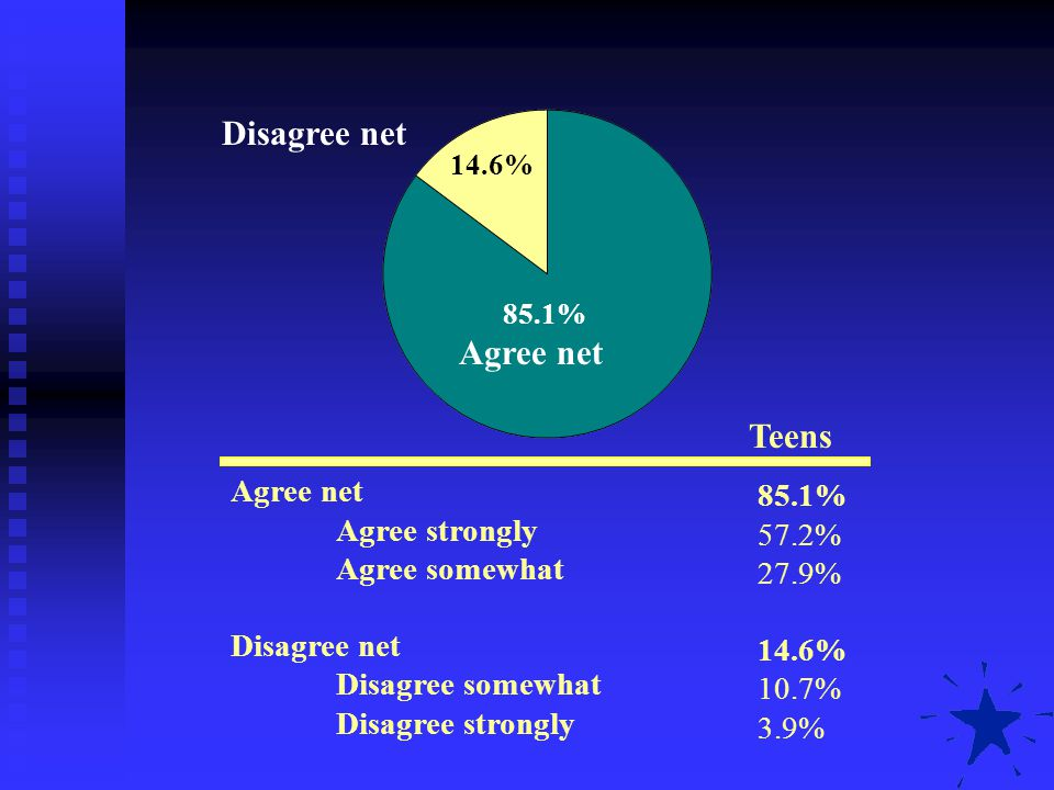 Agree net Agree strongly Agree somewhat Disagree net Disagree somewhat Disagree strongly Teens 85.1% 57.2% 27.9% 14.6% 10.7% 3.9% Agree net Disagree n