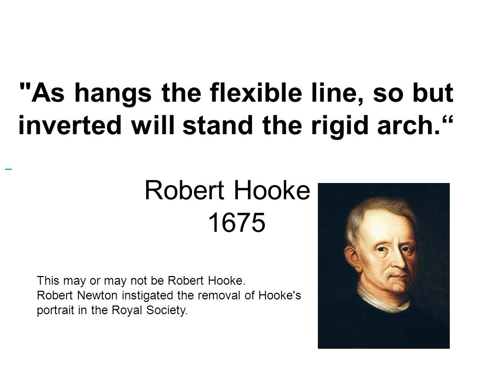 As hangs the flexible line, so but inverted will stand the rigid arch. Robert Hooke - 1675 This may or may not be Robert Hooke.