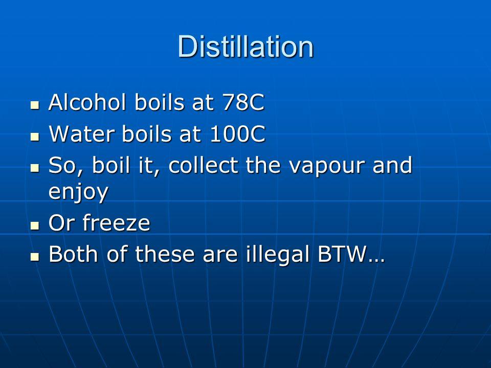 Distillation Alcohol boils at 78C Alcohol boils at 78C Water boils at 100C Water boils at 100C So, boil it, collect the vapour and enjoy So, boil it,