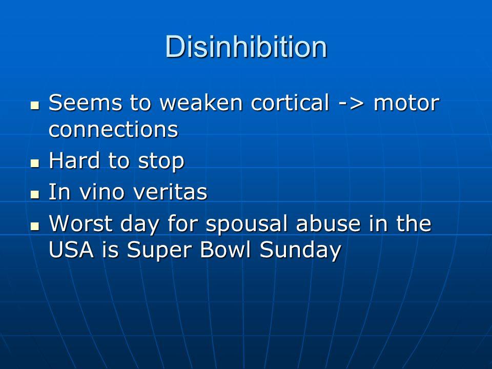 Disinhibition Seems to weaken cortical -> motor connections Seems to weaken cortical -> motor connections Hard to stop Hard to stop In vino veritas In
