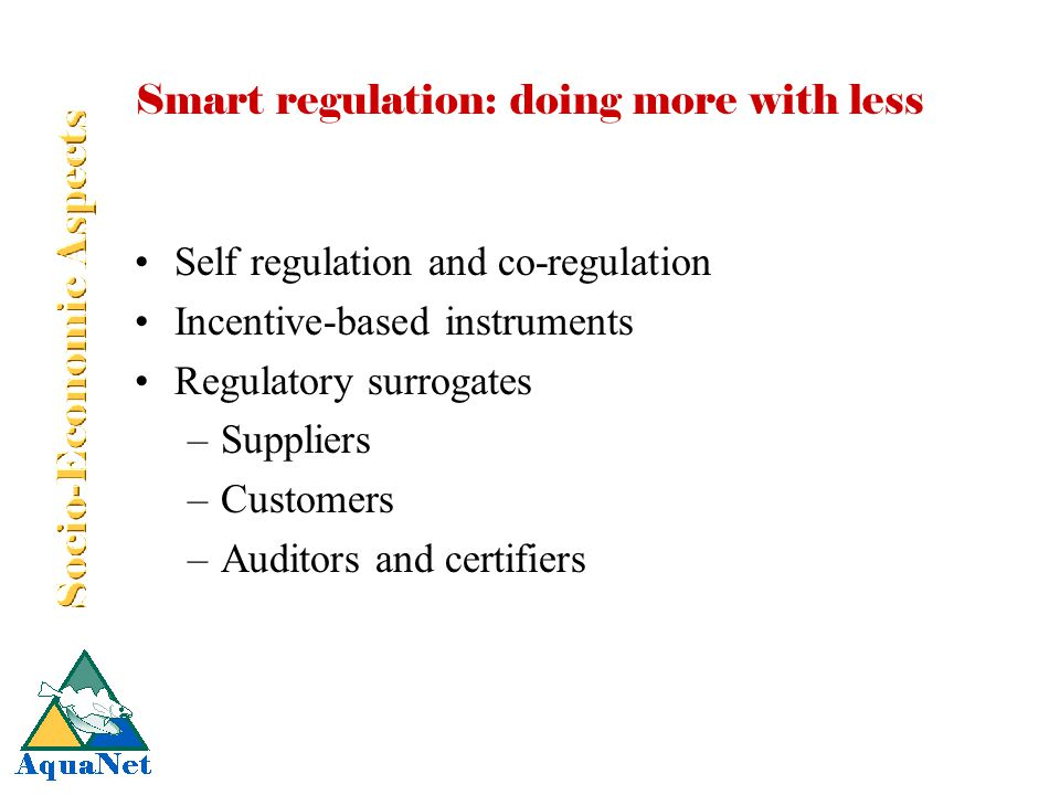 Smart regulation: doing more with less Self regulation and co-regulation Incentive-based instruments Regulatory surrogates –Suppliers –Customers –Auditors and certifiers