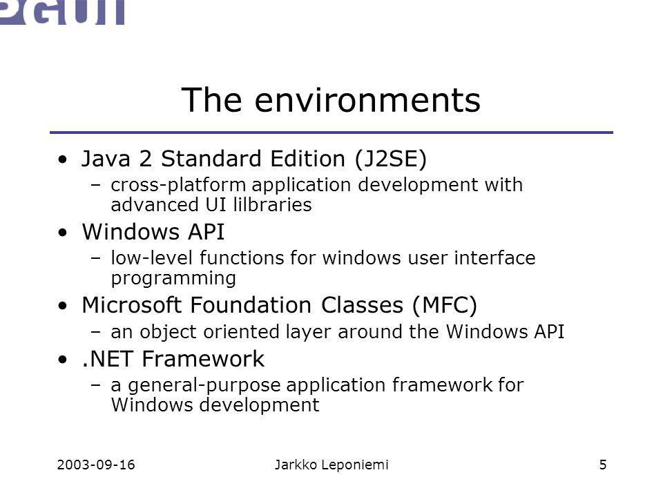 2003-09-16Jarkko Leponiemi5 The environments Java 2 Standard Edition (J2SE) –cross-platform application development with advanced UI lilbraries Window