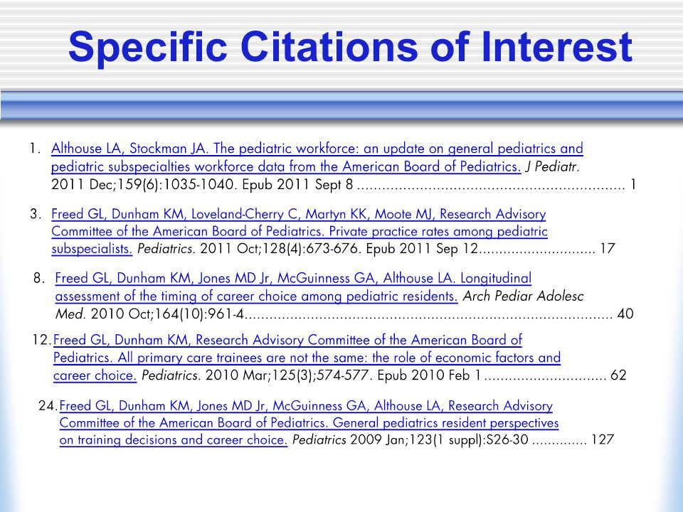 Specific Citations of Interest