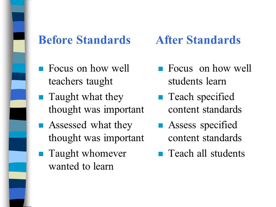 How do state standards change expectations for what happens in your classroom