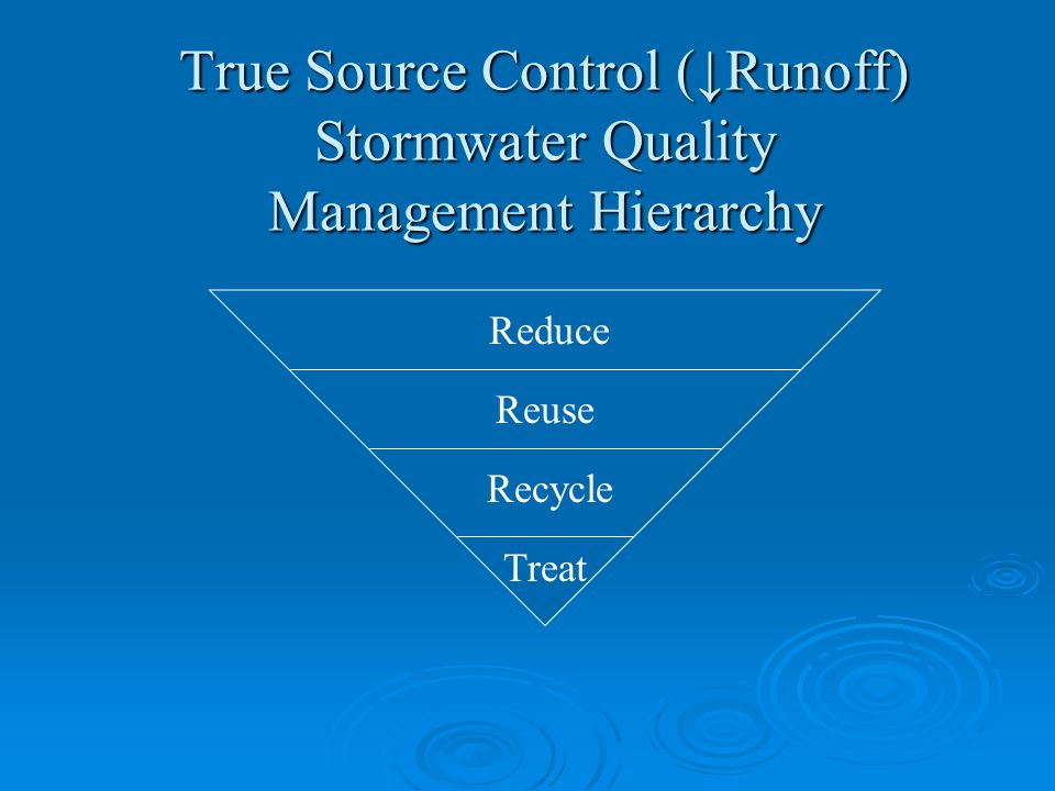 True Source Control (↓Runoff) Stormwater Quality Management Hierarchy Reduce Reuse Recycle Treat