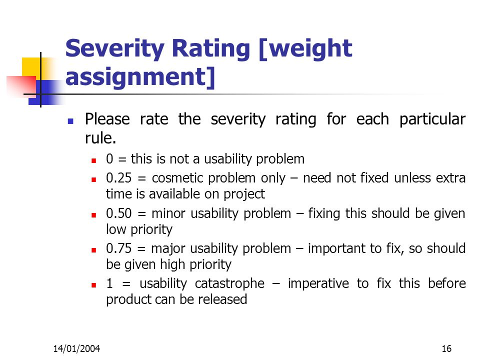 14/01/200416 Severity Rating [weight assignment] Please rate the severity rating for each particular rule.