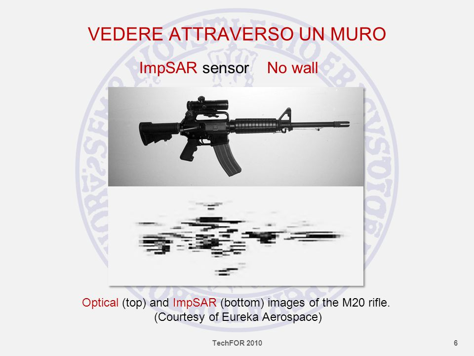 VEDERE ATTRAVERSO UN MURO Optical (top) and ImpSAR (bottom) images of the M20 rifle.